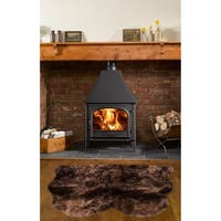 Dynasty Natural 2-Pelt Luxury Long Wool Sheepskin Dark Brown Shag Rug - 3' x 3'6