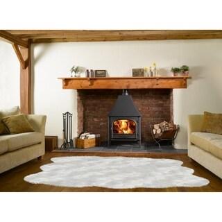 Dynasty Natural 6-Pelt Luxury Long Wool Sheepskin Off White Shag Rug - 5' x 5'5