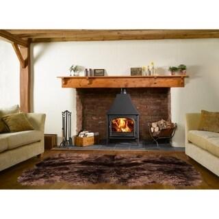 Dynasty Natural 8-Pelt Luxury Long Wool Sheepskin Dark Brown Shag Rug - 5'5 x 6'8