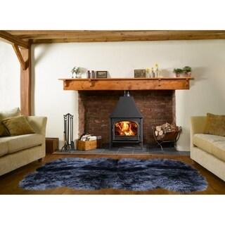 Dynasty Natural 8-Pelt Luxury Long Wool Sheepskin Black Shag Rug - 5'5 x 6'8