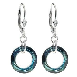 Queenberry Sterling Silver Bermuda Blue Crystals Dangle Earrings