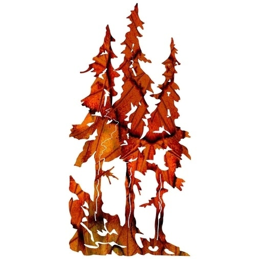 Shop Next Innovations Red Leaves Pine Trees Steel Wall Art - Free ...