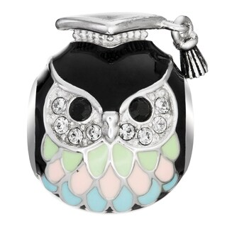 Queenberry Rhodium on 925 Sterling Silver Owl Teacher European Style Bead Charm