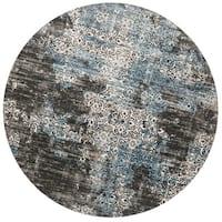 """Distressed Antique Dark Grey/ Blue Vintage Inspired Round Rug - 9'3"""" x 9'3"""""""