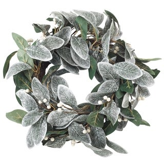 Artificial Faux White Berry Frosted Leaf Branch Wreath
