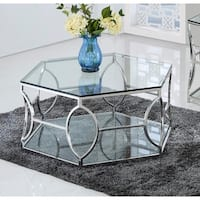 Best Master Furniture Octagon Glass Coffee Table