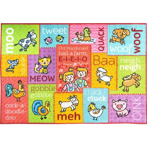 KC CUBS Animal Sounds Educational Area Rug