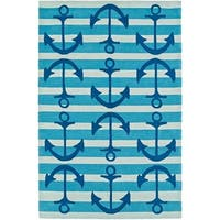 Addison Rugs Beaches Anchors Away Atlantic Blue/Ivory/Navy Fabric/Acrylic Indoor Rectangular Area Rug - 5' x 7'6