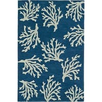 Addison Rugs Beaches Coastal Coral Navy/Ivory Area Rug (5' x 7'6)