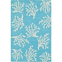 Addison Rugs Beaches Coastal Coral Pacific Blue/Ivory Nautical Area Rug (5' x 7'6)