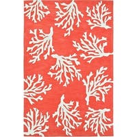 Addison Beaches Coastal Coral Reef/Ivory Acrylic Area Rug (5' x 7'6)