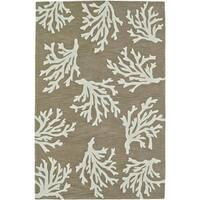 Addison Rugs Beaches Coastal Coral Sand/Ivory Fabric/Acrylic Indoor Rectangular Area Rug (5' x 7'6)