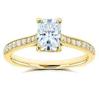 Annello By Kobelli 14k Gold 1 2 5ct TGW Radiant Moissanite And Diamond Vintage Trellis Engagement Ring