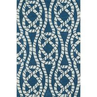 Addison Beaches Nautical Blue/Ivory Rope Area Rug - 5' x 7'6