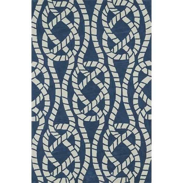 ADDISON Beaches Nautical Blue/Ivory Rope Area Rug (9'X13')