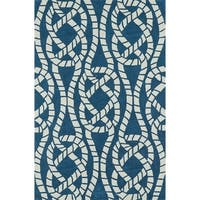 ADDISON Beaches Nautical Blue/Ivory Rope Area Rug (9'X13')