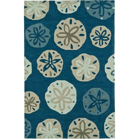 "ADDISON Beaches Nautical Blue/Ivory Sand Dollar Area Rug (3'6""X5'6"")"