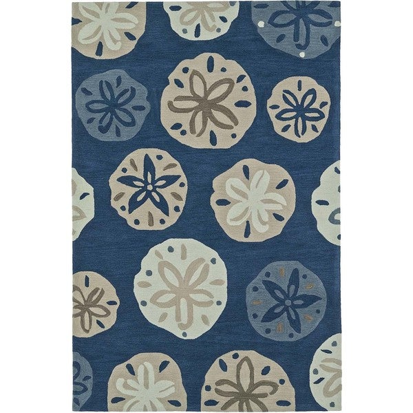 ADDISON Beaches Nautical Blue/Ivory Sand Dollar Area Rug (9'X13')