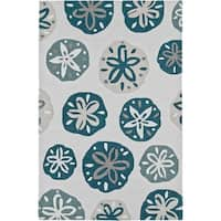 Addison Rugs Beaches Nautical Pearl/Blue/Taupe/Ivory Sand Dollar Area Rug - 5' x 7'6