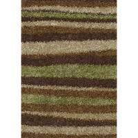 Addison Miramar Brown/Green Modern Stripe Shag Area Rug - 5' x 7'6