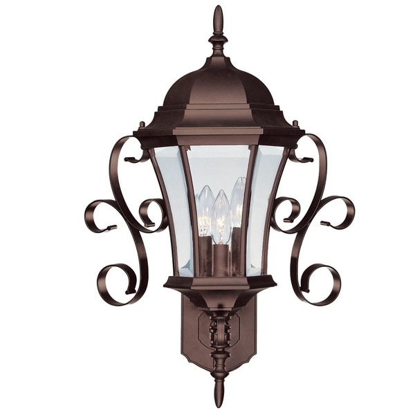 Acclaim Lighting New Orleans Collection 3-Light Outdoor Burled Walnut Wall Light