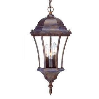 Acclaim Lighting Bryn Mawr Collection Hanging Lantern 3-Light Outdoor Burled Walnut Light Fixture