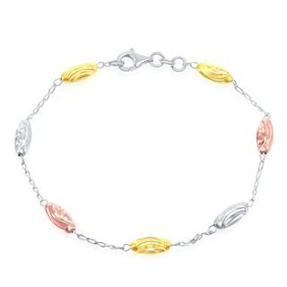 La Preciosa Sterling Silver Italian Diamond Moon-Cut Oval 7'' Bracelet