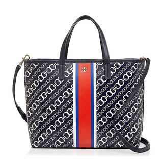 Tory Burch Gemini Link Navy Bias Small Tote Bag