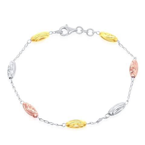 La Preciosa Sterling Silver Italian or Italian Tri-Color Diamond Moon-Cut Oval Bead 9+1'' Anklet