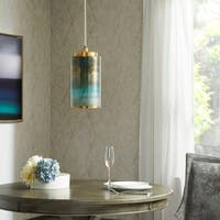 Madison Park Signature Omni Blue Pendant with Drum Shape Shade