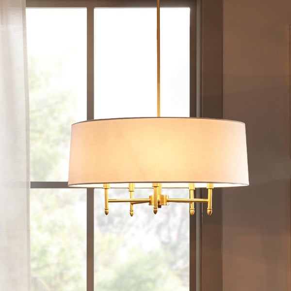 Madison Park Signature Presidio White/ Gold Chandelier with White Taper Shaped Shade
