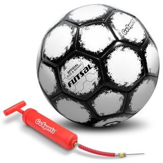 GoSports Futsal Ball with Premium Pump - Regulation Size and Weight (Choose Single Ball or Six Pack with Mesh Bag (2 options available)