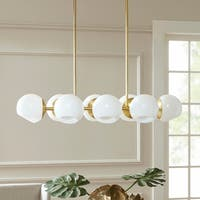 Madison Park Signature Holloway Gold Metal Pendant with Round White Glass Shades
