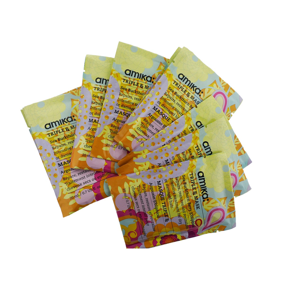 Amika Triple RX 0.7-ounce Mask (Pack of 10), Yellow butter