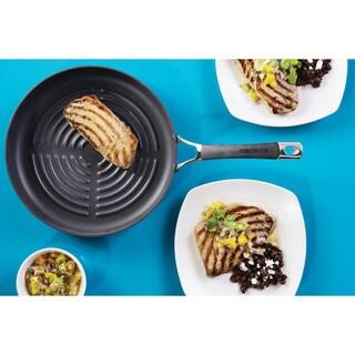 Circulon Momentum Hard-Anodized Nonstick 11.25-Inch Deep Round Grill Pan