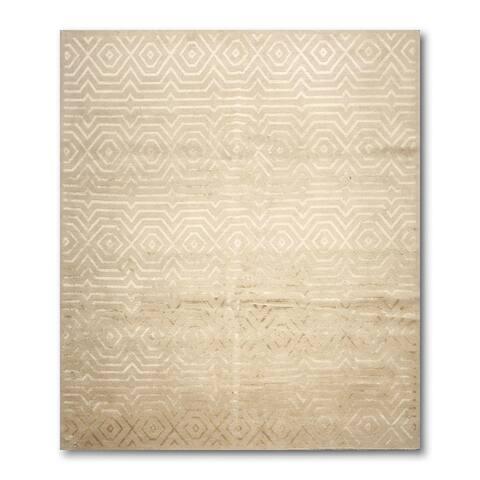 """Modern Tibetan Glam Wool and Silk Oriental Area Rug - Tan/Gold - 8'3"""" x 9'9"""" - 8'3"""" x 9'9"""""""