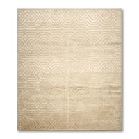 Modern Tibetan Glam Wool and Silk Oriental Area Rug - multi