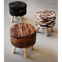 "ACME Angie 16"" Stool in Brown Hide Leather"