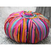 ACME Bali Pouf Ottoman in Multi-Color Cotton