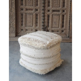 ACME Nabisco Pouf Ottoman in Ivory Wool