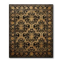 Black/Gold Hand-knotted Wool Persian Oriental Area Rug - 8' x 10'