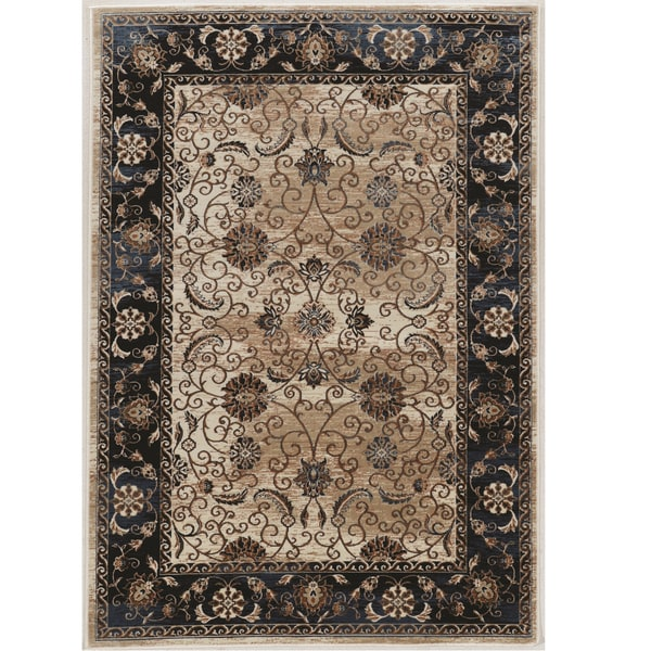 Linon Vintage Collection Isfahan Navy Blue Tan Oriental Area Rug 9 X27