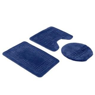Navy Blue 3-Piece Bath Rug Set (includes bath rug, contour and lid cover)