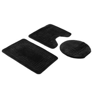 Black 3-Piece Bath Rug Set (includes bath rug, contour and lid cover)