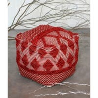 ACME Lyon Pouf Ottoman in Red Cotton and Wool