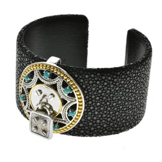 Pangea Mines Two-Tone Turquoise Leather Cuff
