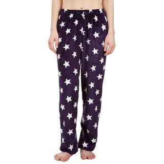 Leisureland Ultra Soft Plush Fleece Pajama Pants Star Purple
