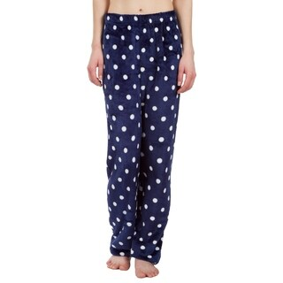 Leisureland Ultra Soft Plush Fleece Pajama Pants Polka Dot