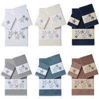 Authentic Hotel and Spa Turkish Cotton Starfish Embroidered 3 piece Towel Set