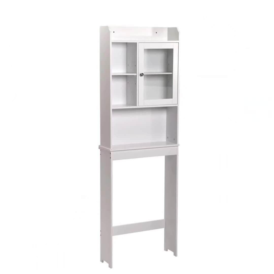 White Toilet Cabinet Bathroom Spacesaver Orginzer Storage...